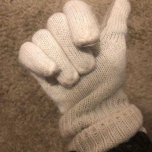 Vintage Cream Knitted Finger Gloves